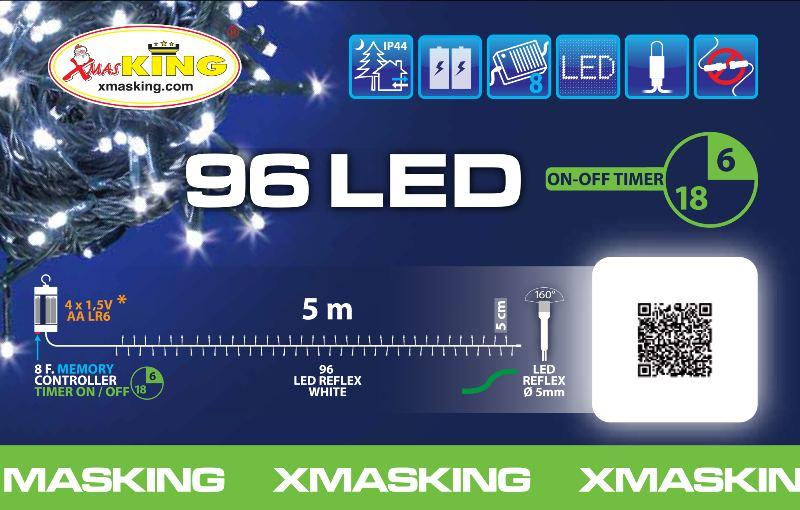 Lotti 30947 Catena Tl 96 Led Bianco 5mm Controller 7g Off Timer 6 18
