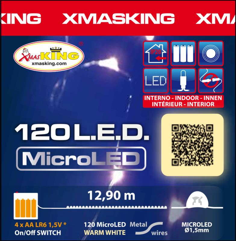 Lotti 32309 Catena 120 Microled Classic 1 5mm Luce Fissa A Batteria